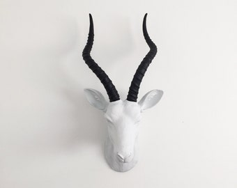 ANY COLOR Large Gazelle Head Wall Mount // Faux Taxidermy // Fake Animal Head // Antelope Antler // African Decor // Safari Nursery // Horns