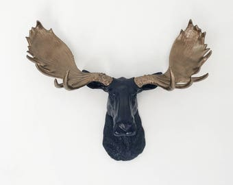 ANY COLOR Large Moose Head Wall Mount // Cabin Decor // Fake Animal Head // Faux Taxidermy // Wildlife Wall Art // Antler Decor // Woodland