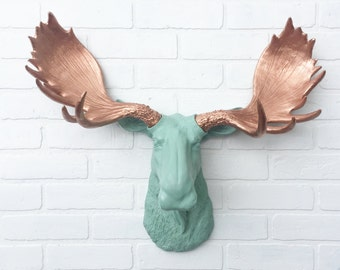ANY COLOR Replica Moose Head Wall Mount // Cabin Decor // Fake Animal Head // Faux Taxidermy // Mint Green // Moose Antler // Resin / Rustic