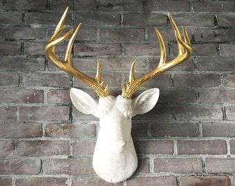 ANY COLOR XL Deer Head Wall Hanging // Faux Taxidermy // Fake Animal Head // Antler // Buck // Stag // Wall Decor // White & Gold // Nursery