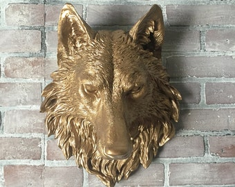 ANY COLOR  or BRONZE Wolf Head Wall Mount // Faux Taxidermy // 3d Wall Art // Man Cave // Lodge Wall Decor // Animal Head // Game of Thrones