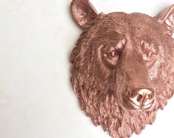 Gold Bear Head Etsy