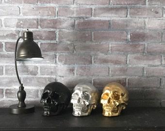 ANY COLOR Skull Sculpture // Fake Human Skull Replica // Faux Taxidermy // Skeleton // Gothic Decor // Halloween // Sugar Skull // Figurine