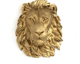 ANY COLOR or GOLD Lion Head Wall Mount // Faux Taxidermy // 3d Wall Plaque // Safari Nursery // Animal Decor // Lion King // Jungle Theme