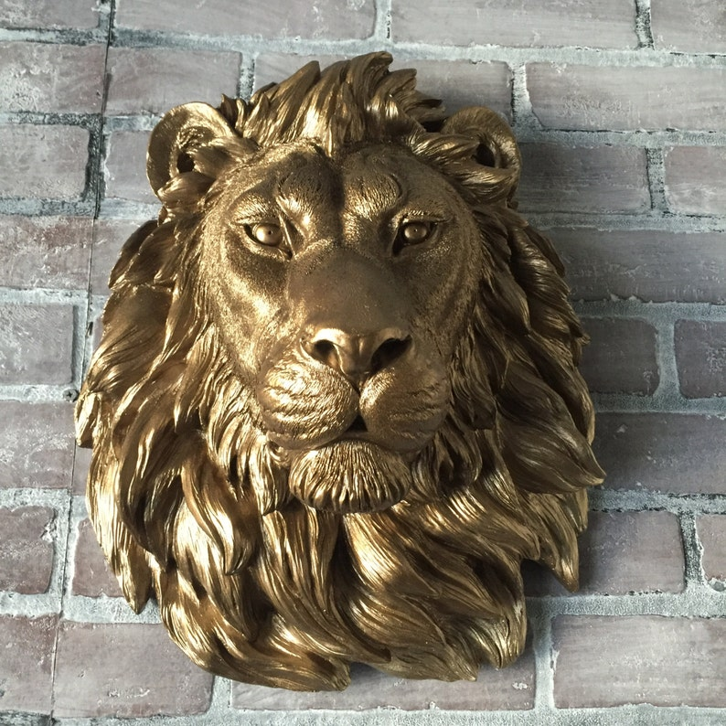 ANY COLOR  or BRONZE Large African Lion Head Wall Mount // image 0