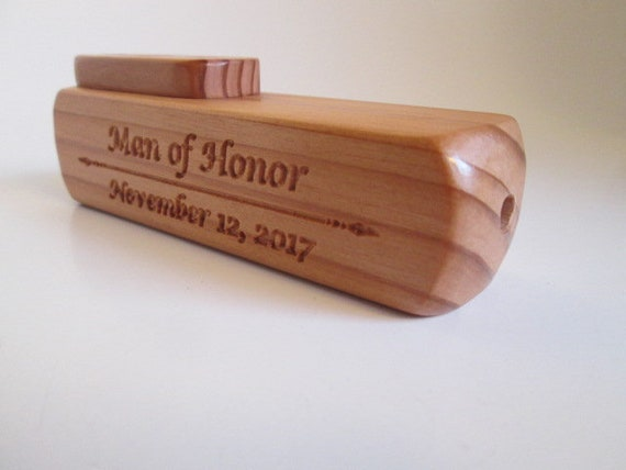 the top is Cedar. The body wood is Redwood Each Kazoo is truly a unique Kazoo Handmade Wooden Kazoo with the custom saying: Father of the Bride