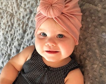 Baby Turban Hat in Blush Pink c27af5fc00d