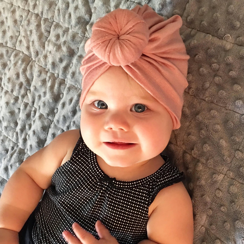 Baby Turban Hat in Blush Pink Turban Bun Hat Turban Top Knot  f6e7182ca9f