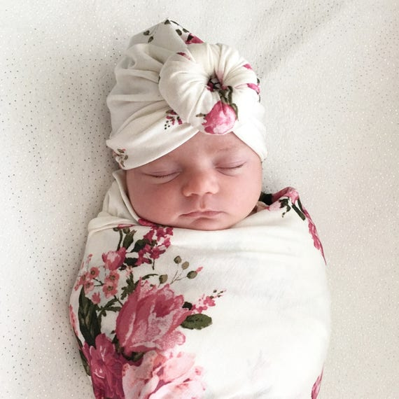 Baby Turban Hat in Ava Creamy and Pink Floral  01150b0a6d2