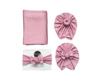 "Baby swaddle set in ""Nova"" Soft Pink, Nova Pink Turban, baby photo prop, hospital set, baby gift, hospital swaddle, baby wrap"
