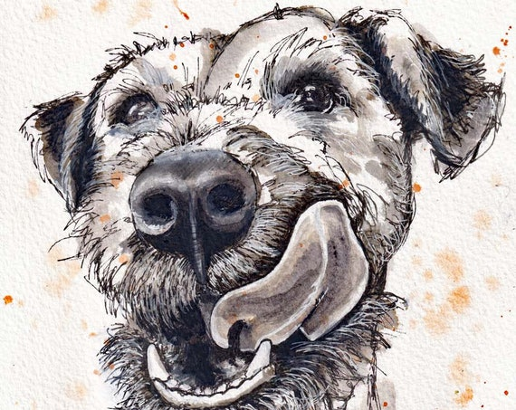 RED FELL TERRIER Print of Original Watercolour Painting Dog Picture by Josie P.