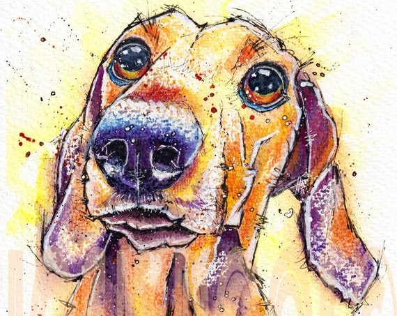 DACHSHUND PRINT of Original Watercolour Sausage Weiner Dog Painting Watercolor Pup Puppy Artwork Gift Art by Josie P.