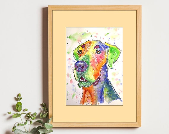GREAT DANE PRINT of Original Watercolour Dog Painting Puppy Art Gift Illustration Portrait Wall Hanging Pet Memory by Josie P. JaPeyArt
