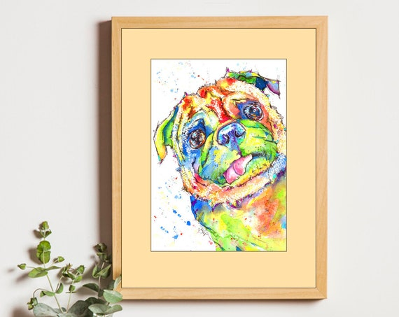 PUG PRINT of Original Watercolour Dog Painting Puppy Art Gift Illustration Portrait Wall Hanging Pet Memory by Josie P. JaPeyArt