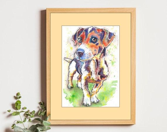 JACK RUSSELL PRINT of Original Watercolour Dog Painting Puppy Art Gift Illustration Portrait Wall Hanging Pet Memory by Josie P. JaPeyArt