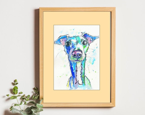 WHIPPET PRINT of Original Watercolour Dog Painting Puppy Art Gift Illustration Portrait Wall Hanging Pet Memory by Josie P. JaPeyArt