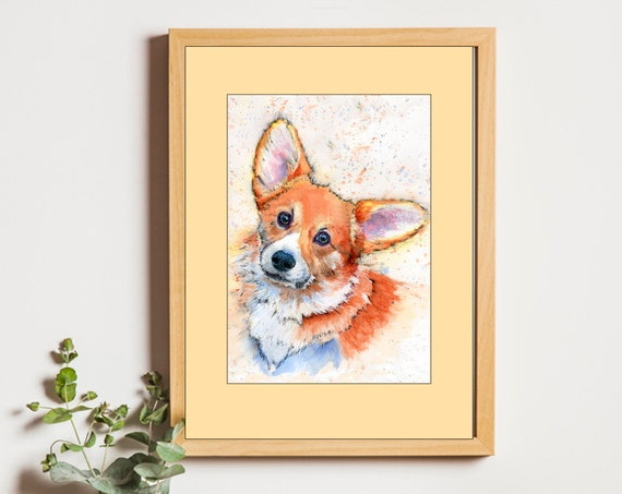 PEMBROKE CORGI PRINT of Original Watercolour Dog Painting Puppy Art Gift Illustration Portrait Wall Hanging Pet Memory by Josie P. JaPeyArt