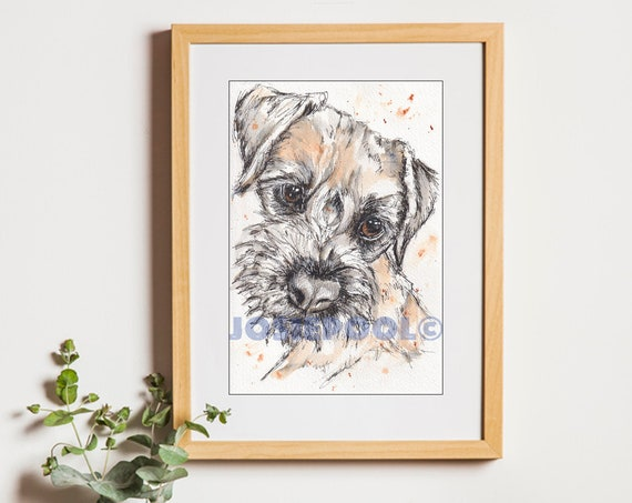BORDER TERRIER Dog Print of Original Ink & Wash Drawing Picture Pet Gift Memento Memory Illustration Portrait Animal By Josie P. JaPeyArt