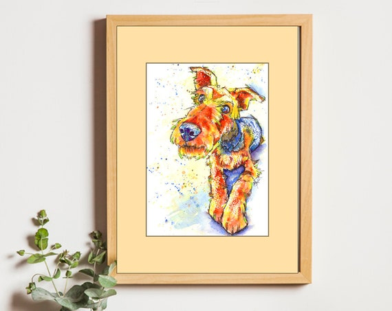 AIREDALE Terrier PRINT Picture of Original Watercolour Dog Painting Art Illustration Pet Artwork. Animal Loss. Gift. Present. Portrait.