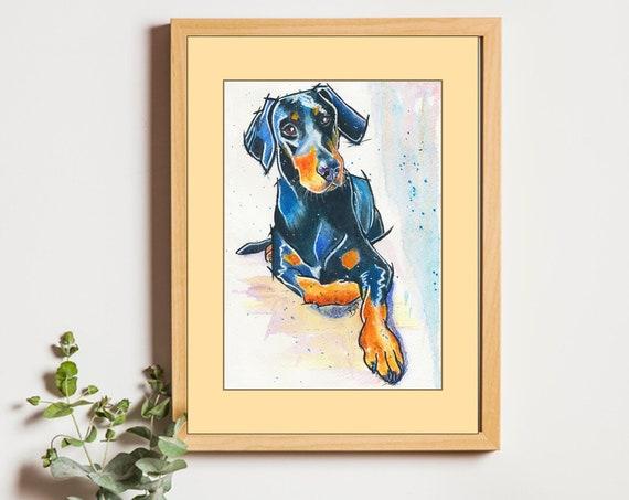 DOBERMANN PRINT of Original Watercolour Dog Painting Puppy Art Gift Illustration Portrait Wall Hanging Pet Memory by Josie P. JaPeyArt