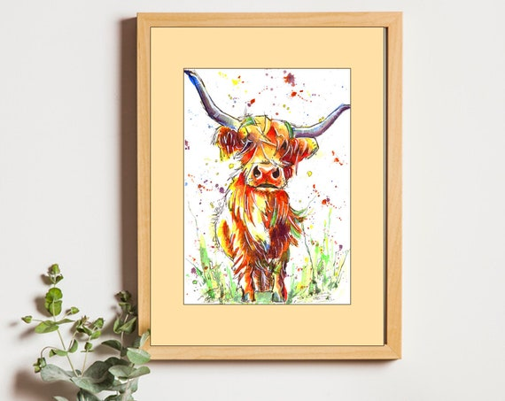 Highland COW PRINT Picture Scottish Painting of Original Watercolour Watercolor Art by Josie P.