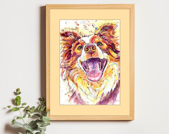 BORDER COLLIE PRINT of Original Watercolour Dog Picture Sheepdog Painting Puppy Art Pet Gift Illustration Animal Wall Hanging by Josie P