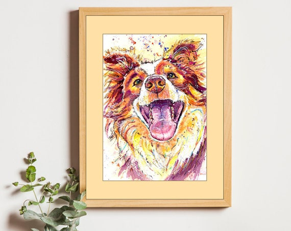BORDER COLLIE PRINT. Watercolour Dog Picture Sheepdog Painting Puppy Art Pet Gift Illustration Animal Wall Hanging by Josie P JapeyArtnStuff