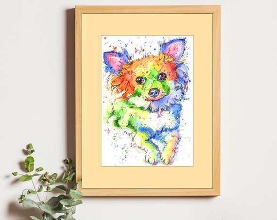 CHIHUAHUA PRINT of Original Watercolour Dog Painting Puppy Art Gift Illustration Portrait Wall Hanging Pet Memory by Josie P. JaPeyArt