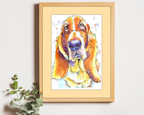 BASSET HOUND PRINT of Original Watercolour Dog Painting Puppy Art Gift Illustration Portrait Wall Hanging Pet Memory by Josie P. JaPeyArt