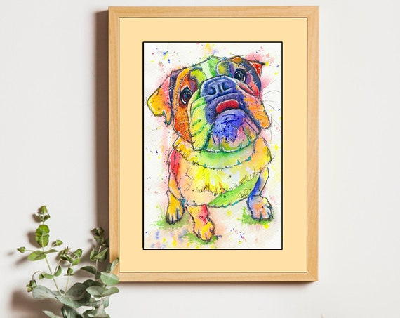BULLDOG PRINT of Original Watercolour Dog Painting Puppy Art Gift Illustration Portrait Wall Hanging Pet Memory by Josie P. JaPeyArt