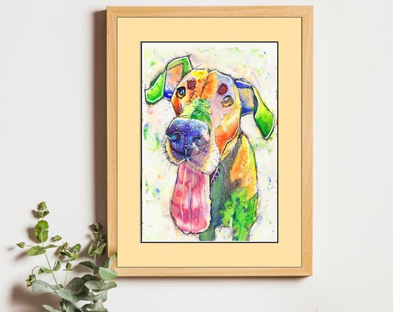 GREAT DANE PRINT of Watercolour Painting, Mothers Day Art Gift, Animal Lover Illustration, Dog Portrait, Wall Hanging, Pet Memory, Picture.