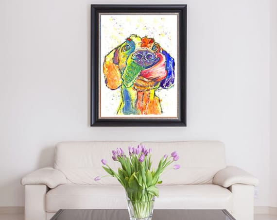GREAT DANE POSTER Print of Original Watercolour Dog Painting Watercolor Art Picture of Hound Dog Pup by Josie P.