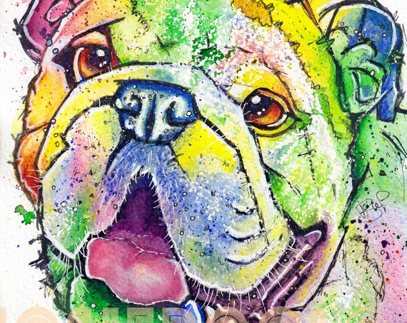 BULLDOG PRINT Picture From Original Watercolour Dog Painting Puppy Watercolor Art Artwork Gift by Josie P.