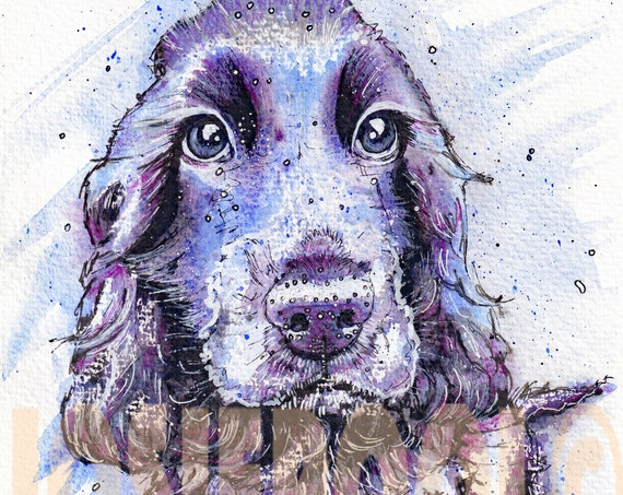 Cocker SPANIEL PRINT Picture of Original Watercolour Dog Painting Watercolor Puppy Hound Picture Painting Art Gift by Josie P.