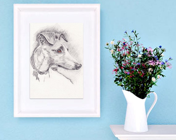 WHIPPET PRINT of Original Graphite Pencil Drawing Dog Puppy Art Gift Illustration Portrait Wall Hanging Pet Memory by Josie P. JaPeyArt