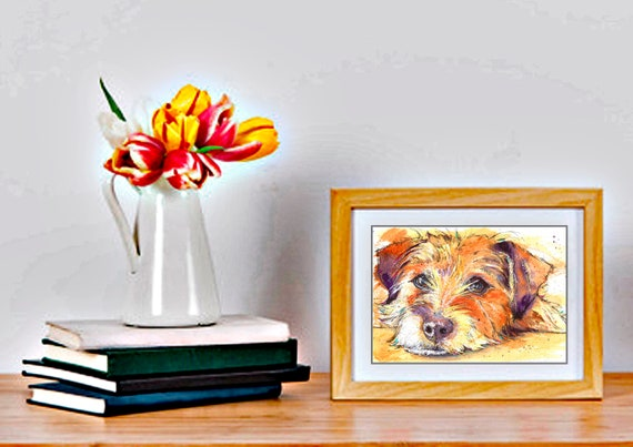 JACK RUSSELL PRINT of Original Watercolour Dog Painting Puppy Art Gift Illustration Portrait Wall Hanging Pet Memory by Josie P. JaPeyArt