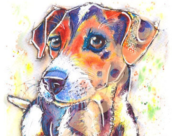 JACK RUSSELL PRINT Picture Terrier Painting of Original Watercolour Painting Watercolor Dog Puppy Artwork Gift Art by Josie P