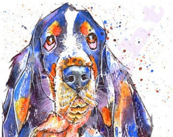 BASSET HOUND Print of Original Watercolour Watercolor Dog Puppy Picture Art Hound Painting by Josie P.