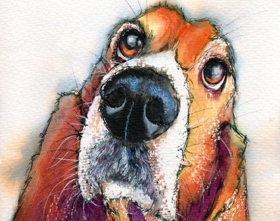 BASSET Hound Painting FREE SHIPPING. Picture, Dog, Print of Original Watercolour, Puppy, Wall-Art, Illustration, Pet, Wall Hanging. Animal.
