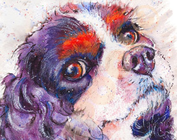 CAVALIER King Charles SPANIEL Dog PRINT from Original Watercolour Picture Watercolor Painting by Josie P.