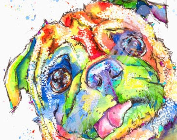 PUG PRINT of Original Watercolour Dog Painting Puppy Art Gift Illustration Portrait Wall Hanging Pet Memory by Josie P. JaPeyArt