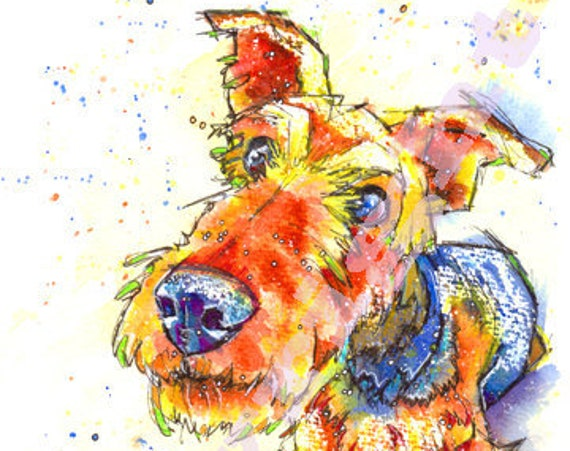 AIREDALE Terrier PRINT Picture of Original Watercolour Watercolor Dog Painting Art by Josie P.