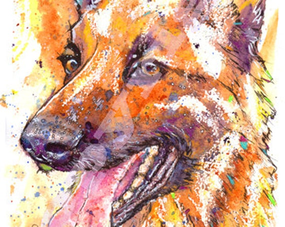 GERMAN SHEPHERD PRINT Picture Alsatian Dog Painting of Original Watercolour Painting Watercolor Animal Hound Puppy Picture Art by Josie P.