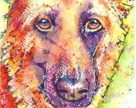 GERMAN SHEPHERD PRINT Painting Alsatian Picture of Original Watercolour Painting Dog Watercolor Animal Hound Puppy Picture Art by Josie P.