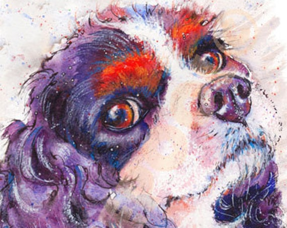 CAVALIER SPANIEL PRINT of Original Watercolour Dog Painting Art Gift Illustration Portrait Wall Hanging Pet Memory by Josie P. JaPeyArt