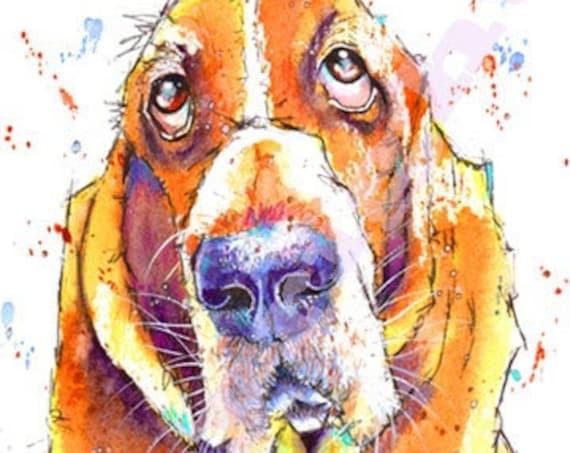BASSET HOUND PRINT of Watercolour Painting, Art, Illustration, Pet, Artwork, Animal, Loss, Gift, Present, by Josie P, JaPeyArtnStuff
