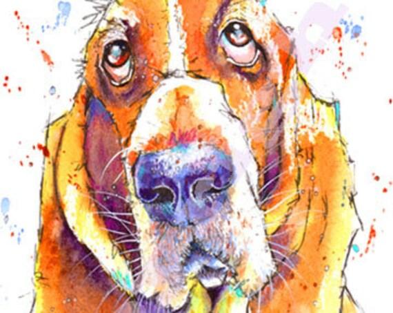 BASSET HOUND PRINT of Original Watercolour Dog Painting Puppy Art Gift Illustration Portrait Wall Hanging Pet Memory by Josie P. JaPeyArt