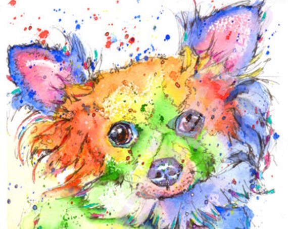 CHIHUAHUA PRINT of Original Watercolour Dog Painting Puppy Art Gift Illustration Portrait Wall Hanging Pet Memory by Josie P. JaPeyArt