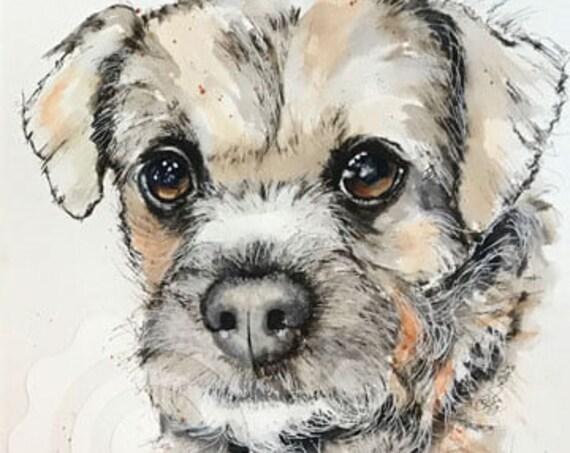 BORDER TERRIER Dog Print of Original Ink & Wash Drawing Picture Pet Gift Memento Memory Illustration Portrait Animal By Josie P. JaPeyArt