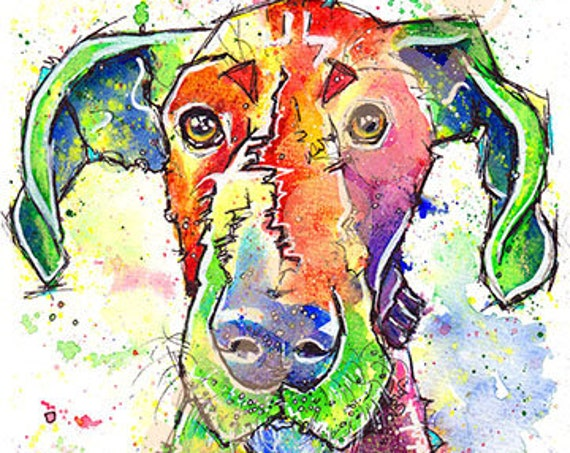 GREAT DANE PRINT of Original Watercolour Dog Painting. Watercolor Art Picture of Hound Dog Pup by Josie P.